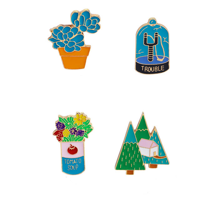 Cartoon Enamel Brooch Creative Plant Potted Woods Green Grass Grass Alloy  Brooch Fashion Denim Shirt Collar Badge Jewelry Gifts