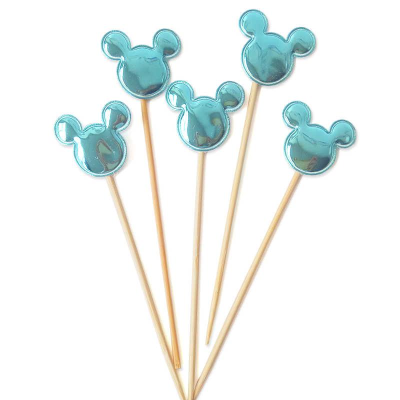 5 sztuk Mickey & Minnie głowa myszy ozdoba na wierzch tortu Cupcake flagi kąski do kąpieli dla dzieci chłopiec dzieci Birthday Party materiały do dekoracji ślubnych