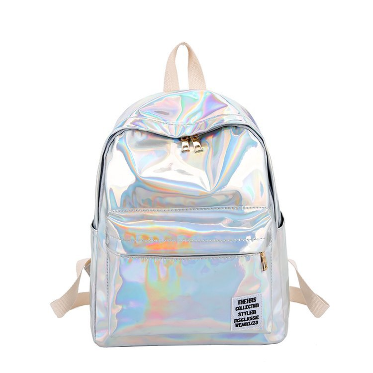 Women Laser Hologram Pvc Backpacks Girls Shoulder School Backpack Female Casual Simple Street Hip Pop Holographic Travel Bag