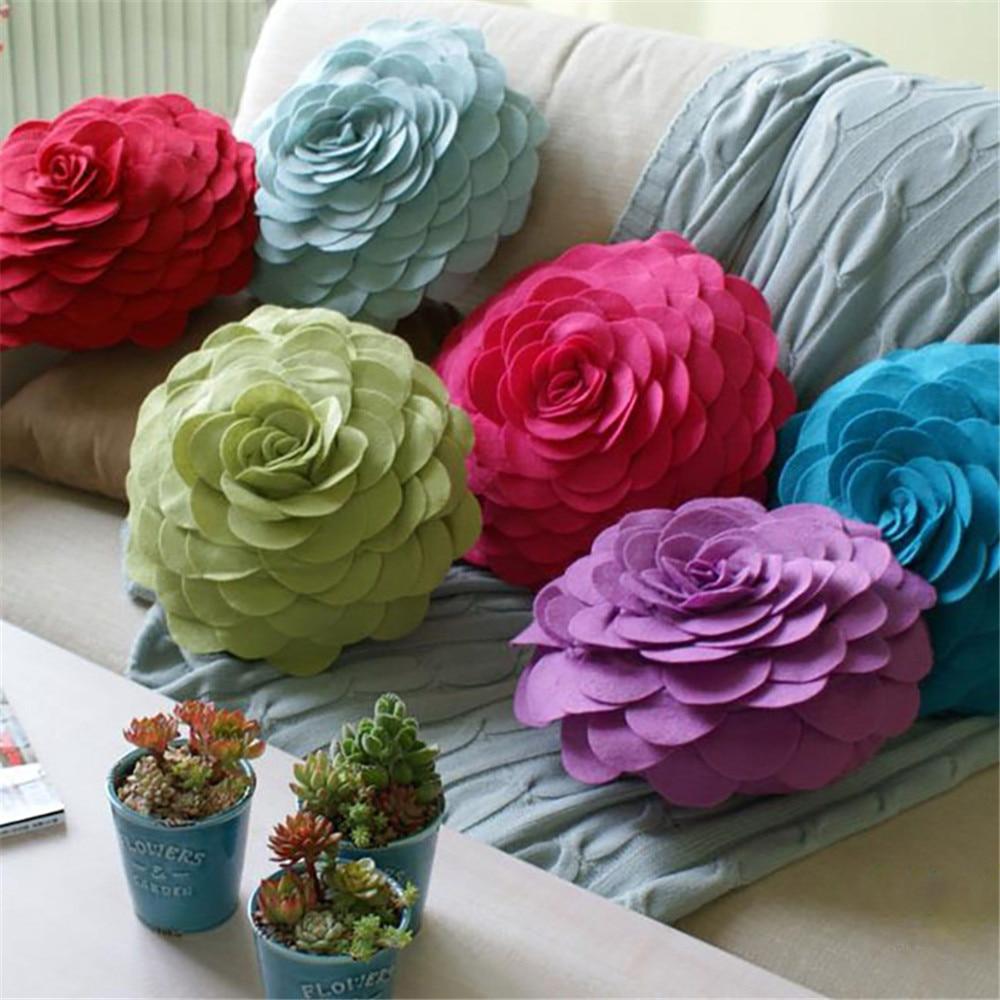 Felt Rose Flower Cushion 3D Handmade Decorative Throw Pillow Bed Sofa Car Living Room Home Wedding Decoration 34cm Round