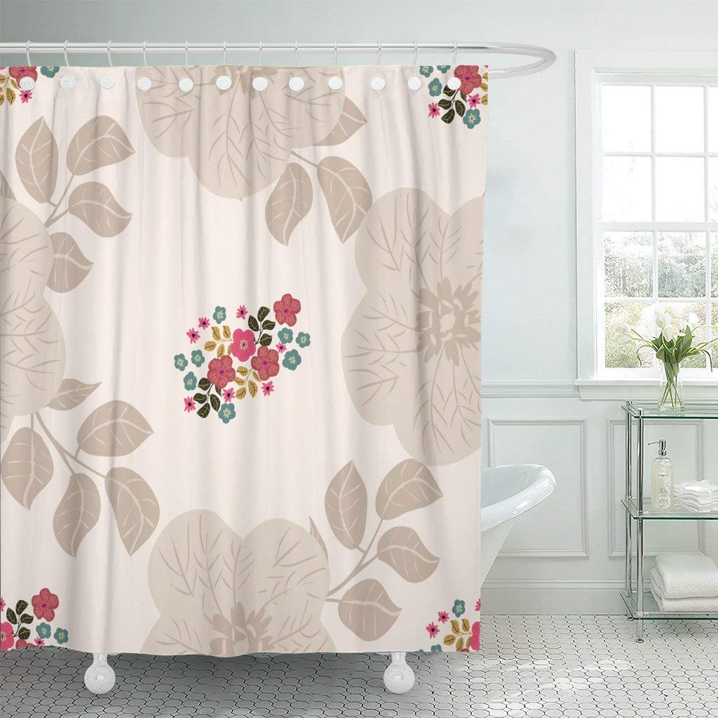 Shower Curtain Artistic Folk in Small Wild Flowers Country Style Millefleurs Floral Meadow Fills Bloom Decorative Bathroom image