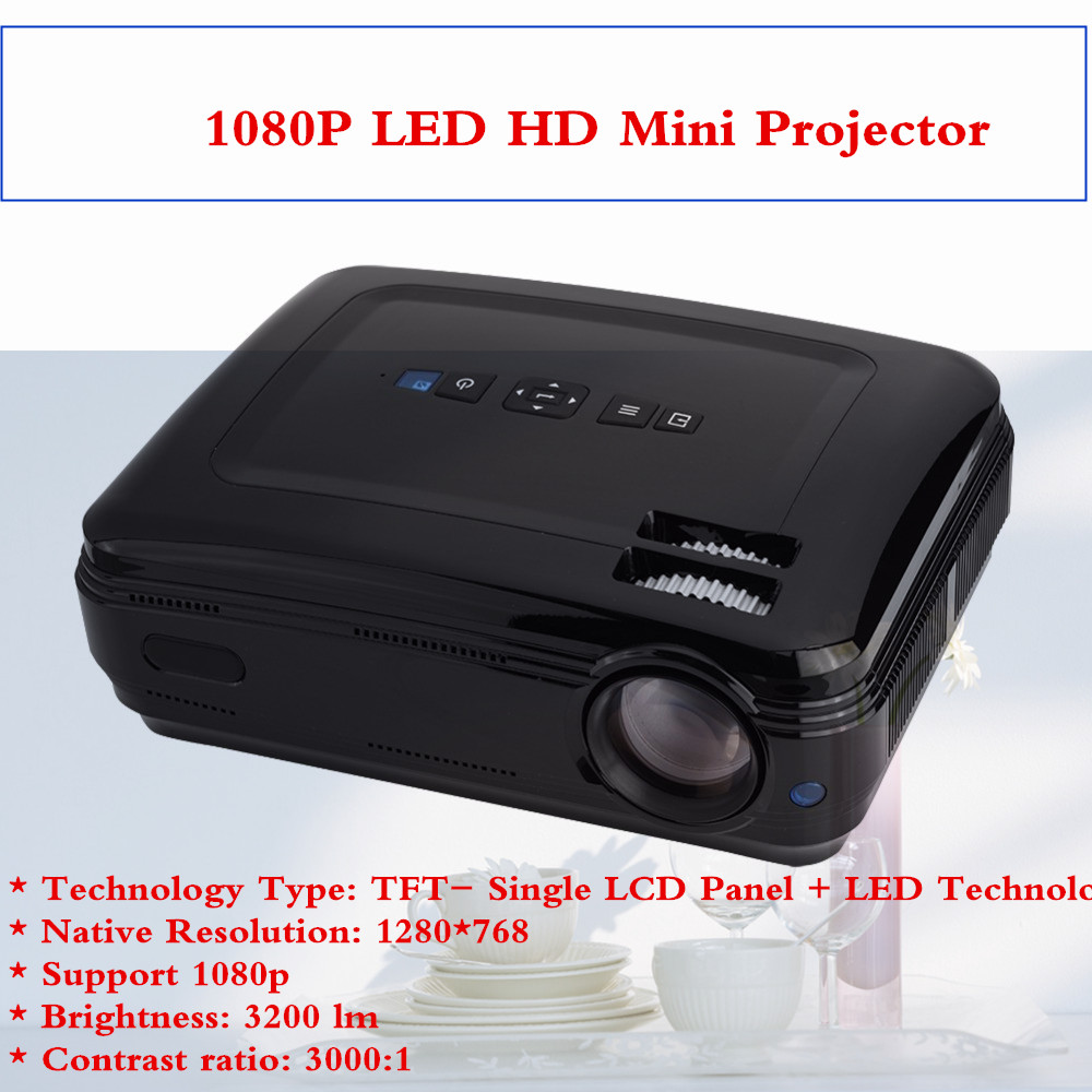 Home Mini Projector 1080P HD Home Theater With HDMI USB SD VGA AV TV Port Black US Plug 100-240V gp802a mini portable led projector 200 lumens 480 320 pixels contrast ratio 600 1 with hdmi vga usb av tv sd port home theater