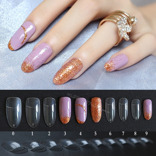 500pcs Transparent Full set false nails Half stickers Almond long ...