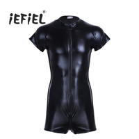 IEFiEL Mens Patent Leather Short Sleeves Front Zipper One Piece Leotard Evening Party Bodysuit Bodystocking With