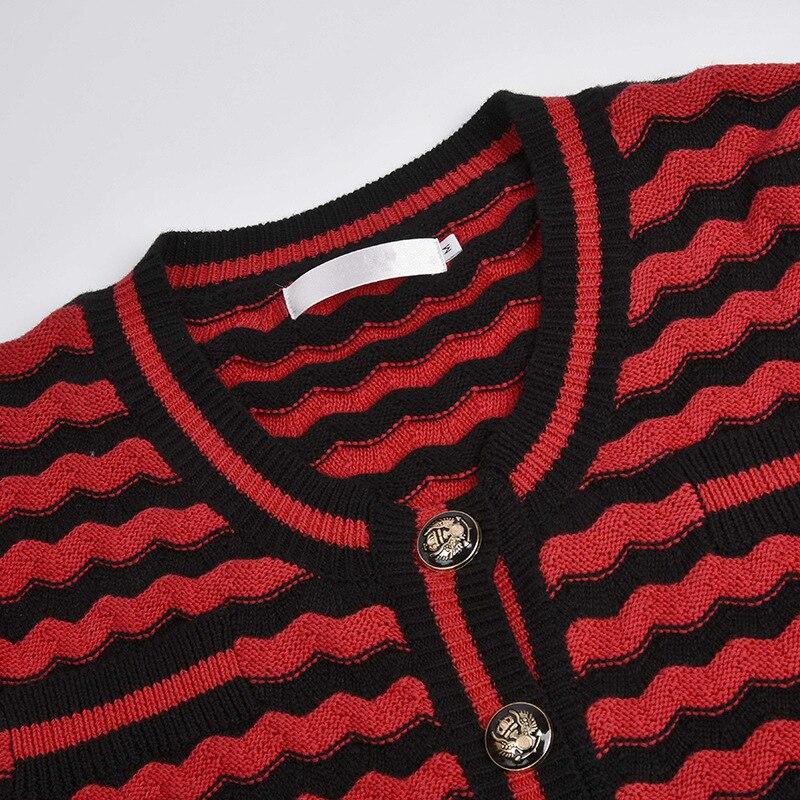 Nero Maglione Nuovo Lungo Femminile Cappotto Della Zebra Banda Rosso E Cardigan w81FIHrq8