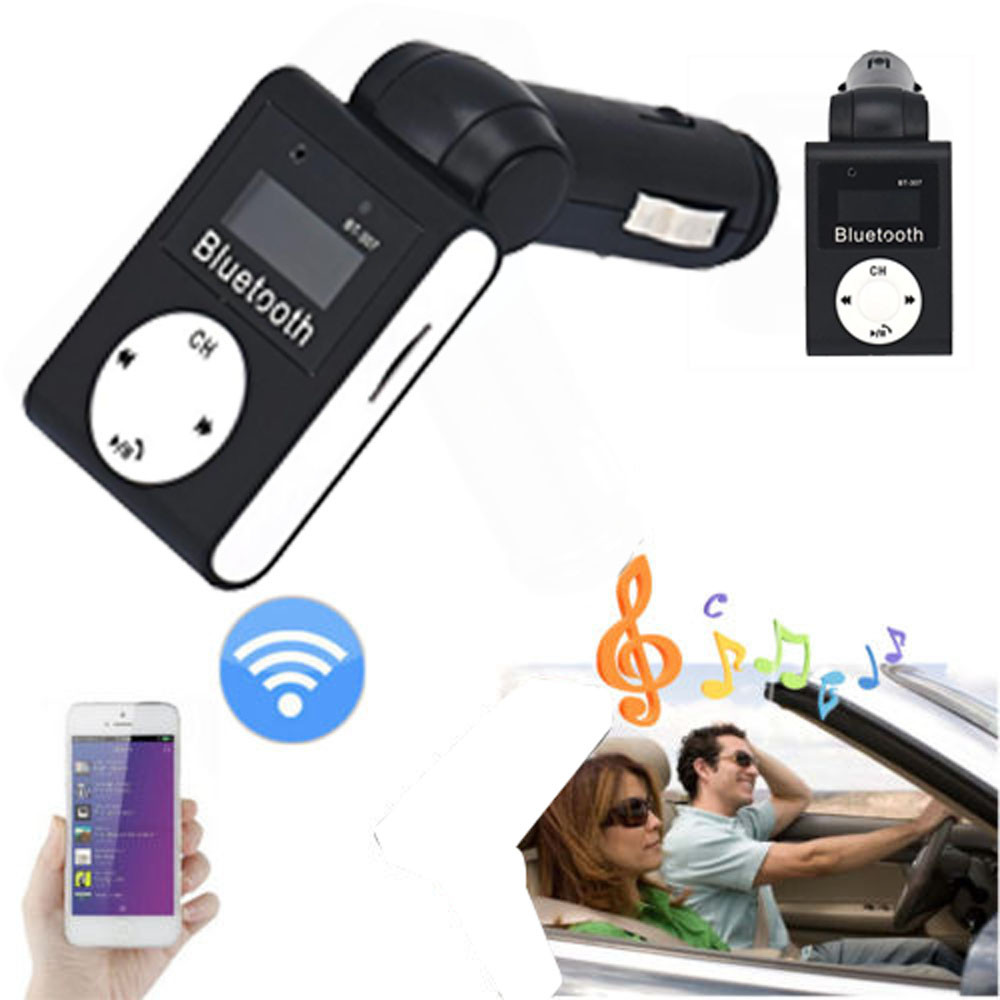 LCD Bluetooth Car Kit Min Transmitting Distance 10m MP3 FM Transmitter USB Charger Handsfree For iPhone ...