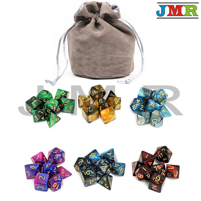 6 Sets Of 6 Color Dice  Portable Dice For Dungeons And Dragons Mixed Color With Large Pouch Cube Game,DnD  Rpg Game