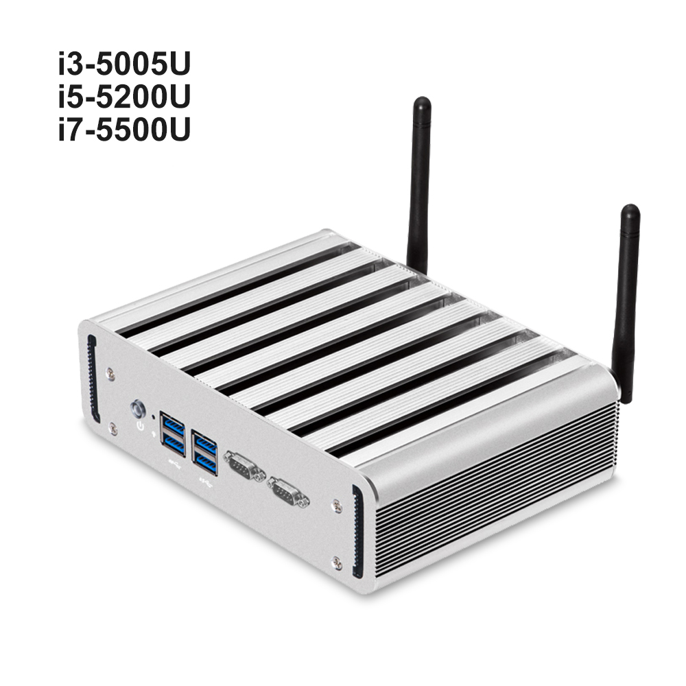 Mini PC Intel Core i7 5500U i5 5200U i3 5005U 2*RS232 DB9 2*RJ45 1000M LAN HDMI VGA 4*USB 3.0 Mini PCIE WiFi Windows Linux