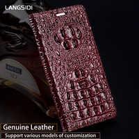 Genuine Leather Flip Phone Case For Xiaomi Mi 5 6 8 A1 A2 Max 2 Mix2s case Crocodile back Texture For Redmi Note 4 4X 4A 5 Plus