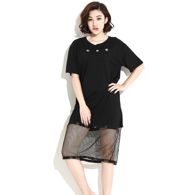 T-shirts dress women dresses 2017 summer new fat size ladies dress White  black casual cotton hollow dress for women plus size 97d16bdb605b
