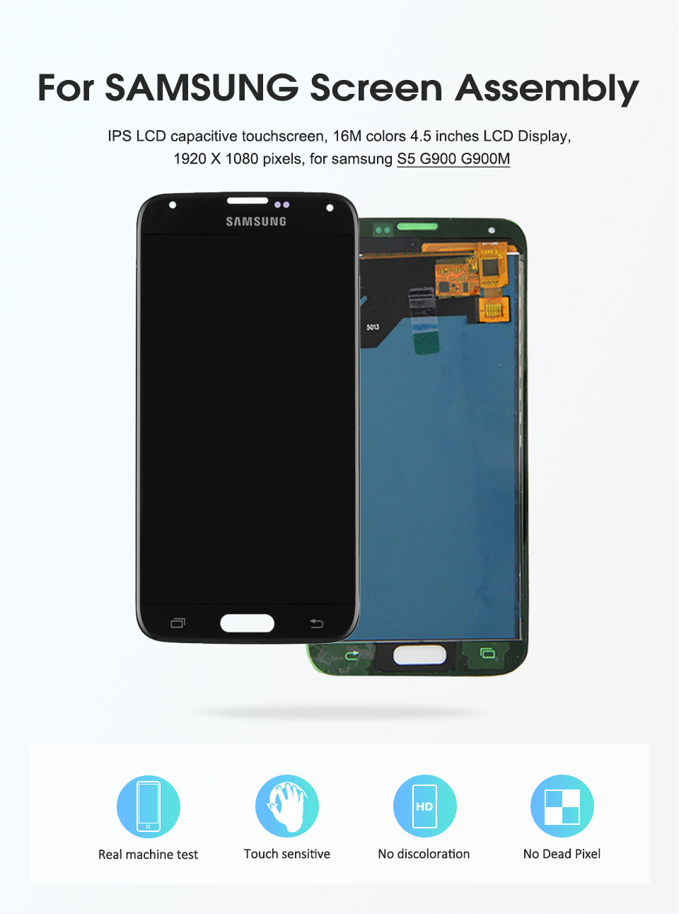 HTB1BMwlQFYqK1RjSZLeq6zXppXaH 100% Test Lcd for Samsung Galaxy 4G S5 i9600 G900 G900M G900F Lcd Display Touch Screen Digitizer Assembly (not compatible G900H)