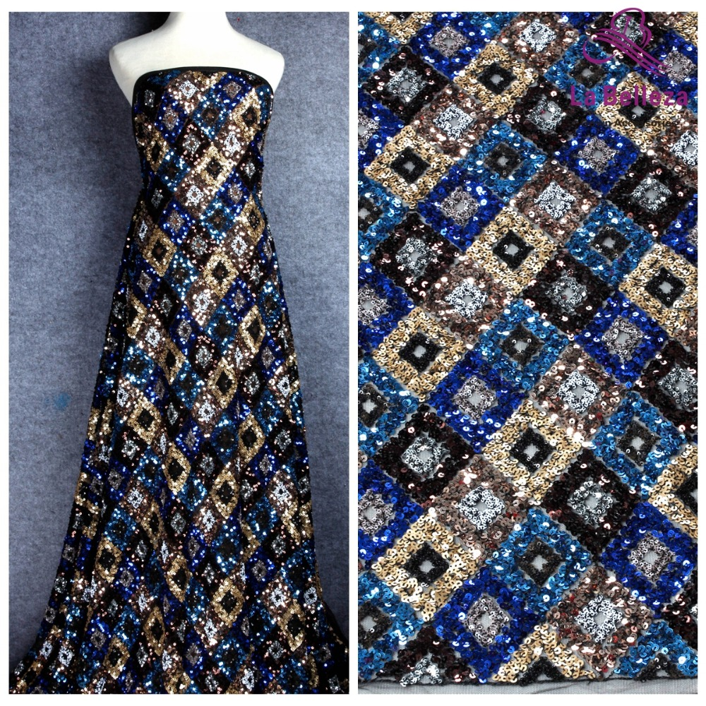 La Belleza 1 yard Blue gold sequins embroidered wedding evinging show dress lace fabric 51 width