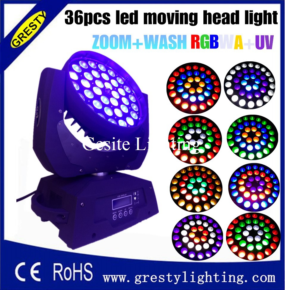 6 IN 1 36X18W led moving head wash light, rgbwa uv 6 in1 36pcs 18w led moving head light disco wash light