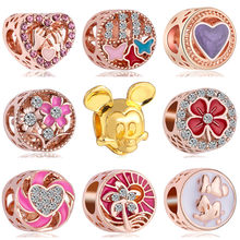 High Quality Charms Beads Rose Gold/Gold Color Hollow Star Flower Mickey Crystal Heart Charms Fit Pandora Bracelets for Women(China)