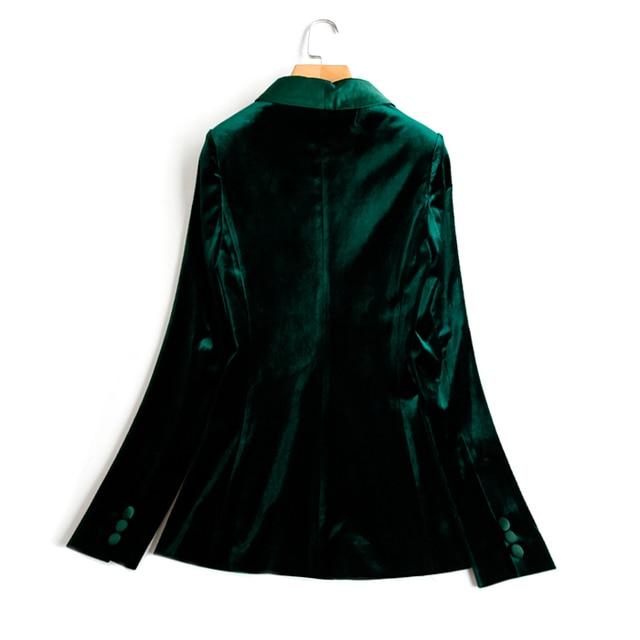 Green Velvet Blazer Women Autumn New 3XL Plus Size One Button Formal Slim Ladies Blazers 2017 Winter Office Suit Coat 1