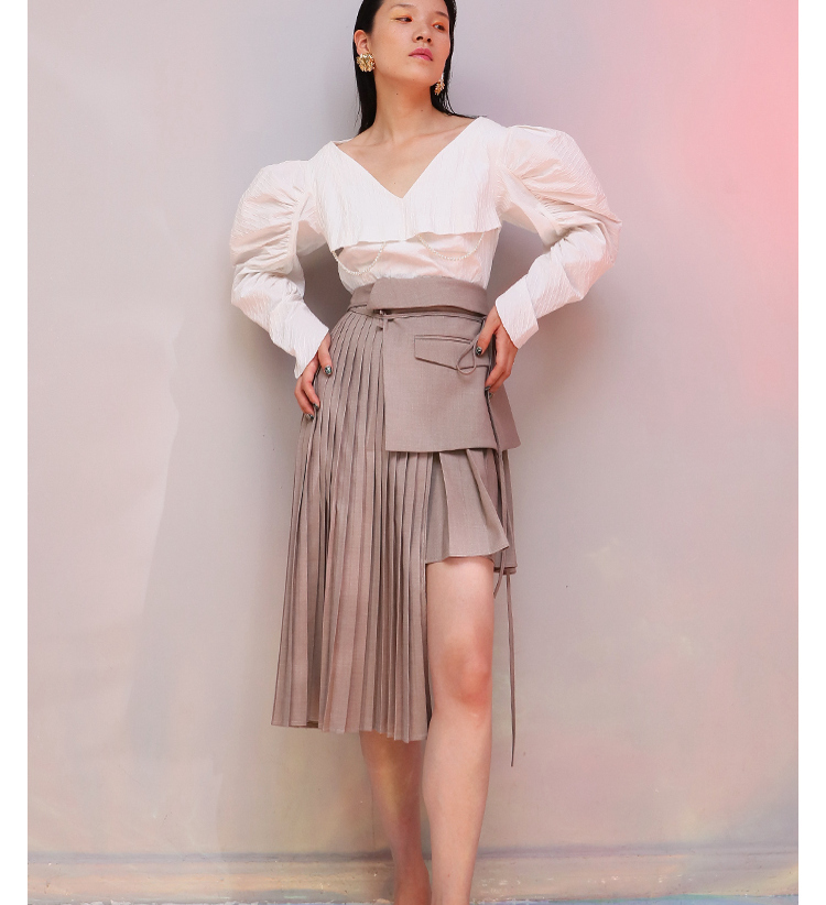 Boutons Jupes Jupe Lt670s50 Angleterre Femmes Plissée Haute Mini D'été Gris 2018 Taille Bandage Irrégulière Style q8xBC6