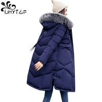 UHYTGF Big fur collar Winter Jacket Women's Down cotton Hooded Thick Warm coat quilt snow outwear Long Plus size Parka Jacket 62