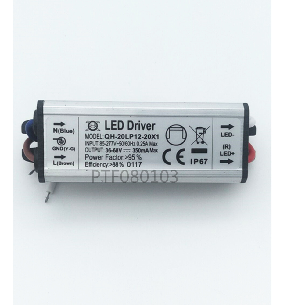 2pcs/lot 20W DC30-68V Watperproof LED Driver 12-20x1W 350mA IP67 Constant Current Aluminum LED Power Supply 2pcs/lot 20W DC30-68V Watperproof LED Driver 12-20x1W 350mA IP67 Constant Current Aluminum LED Power Supply