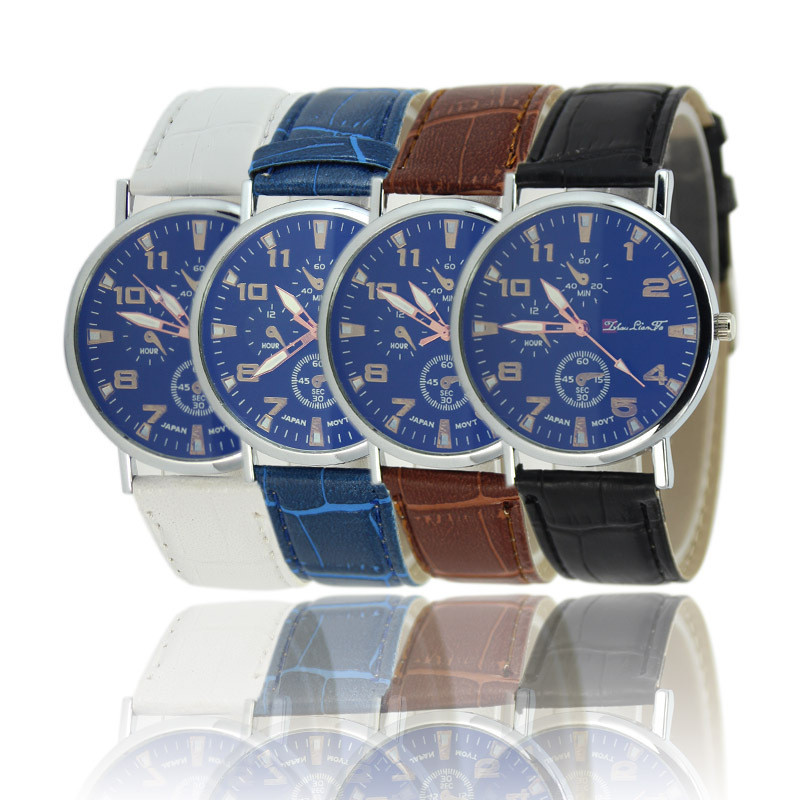 Hot Blue Ray Glass Three Eyes Dial Watches Men Faux Leather Band Quartz Watch Relogio Masculino Men's Casual Business Wristwatch durable watch men luxury brand relogio masculino men watch faux leather men blue ray glass quartz watch