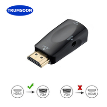 Trumsoon HDMI to VGA Adapter Converter with Audio Cable Male/Female to Female Cables 1080P for PC/TV/Xbox PS3 projector