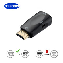 Trumsoon HDMI to VGA Adapter Converter with Audio Cable Male/Female to Female Cables 1080P for PC/TV/Xbox PS3 projector(China)