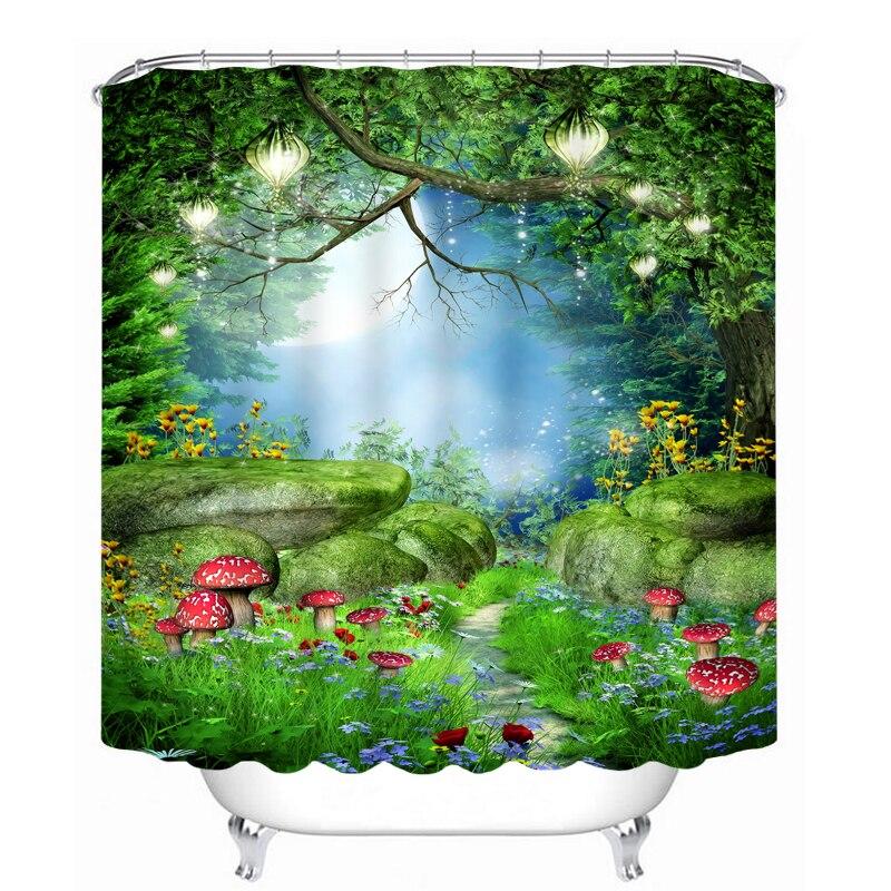 3D Fairy Tale Wonderland Mushroom Waterproof Shower Curtain Bathroom  Products Creative Polyester Bath Curtain Christmas Gifts