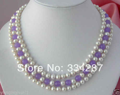 3strands 8mm white round freshwater pearl jades necklace