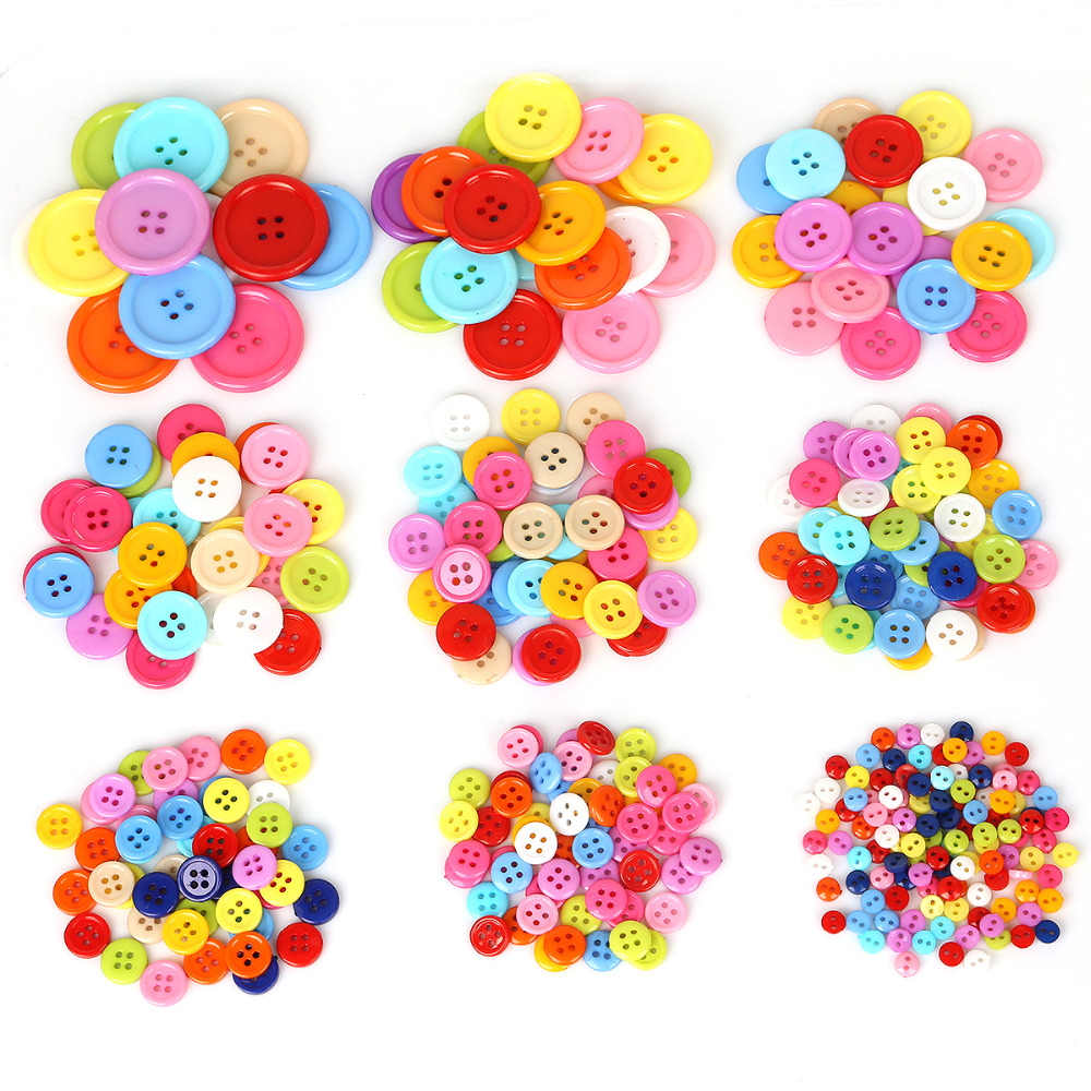 6mm-30mm Mixed Color Round Resin Buttons 4 Holes Sewing Buttons Scrapbooking Crafts Garment DIY Apparel Accessories(China)