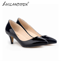 New Fashion Female Spring Autumn High Heels Causal Women Pumps PU Leather Shoes Solid Design Pointed