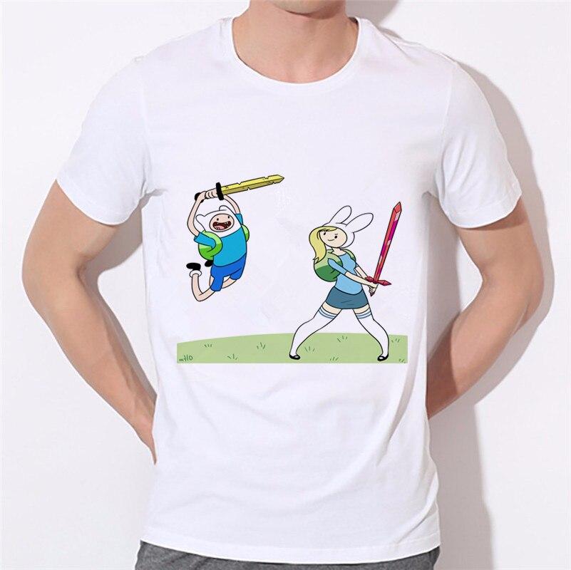 Повседневное человек Костюмы новые летние Для мужчин футболки время приключений/поцелуй моды короткий рукав с круглым вырезом футболки W-338...