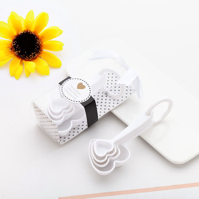 (4Pcs/Lot=1Boxes) Adorable Heart Baby souvenirs of Love Measuring Spoon Favors for Baby Shower favors and birthday Party gift 10