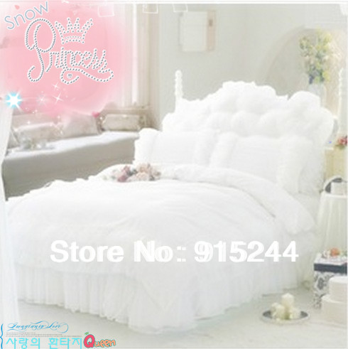 white ruffle wedding lace cotton bedding 4pcs set king size pink rustic purple color duvets cover comforter set bedskirt pillowin bedding sets from home