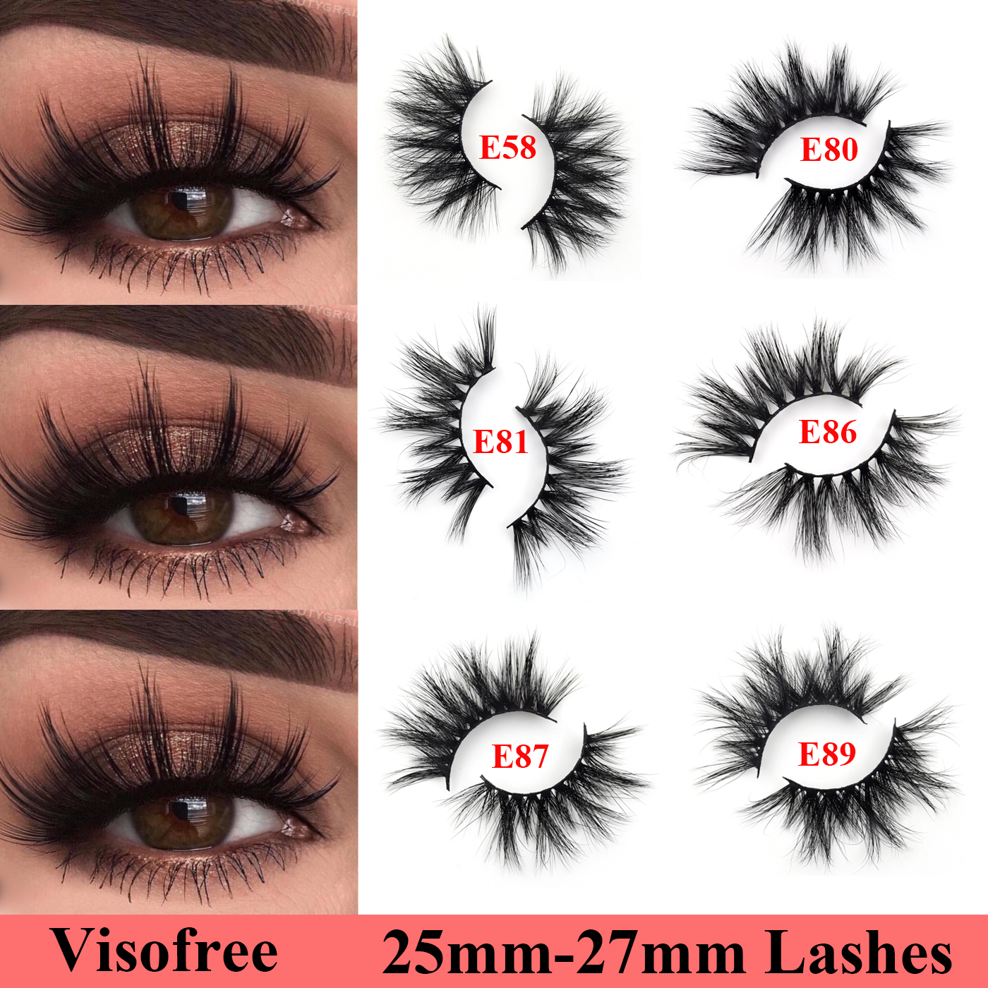 Visofree 25mm Lashes 3D Mink Hair False Eyelashes Thick Extra Long Mink Eyelashes 27mm Eye Lashes Makeup Beauty Extension Tools