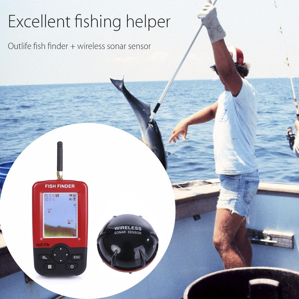 Outlife Smart Portable Depth Fish Finder with 100 M Wireless Sonar Sensor echo sounder for fishing Finder Lake Sea Fishing lucky fishing sonar wireless wifi fish finder 50m130ft sea fish detect finder for ios android wi fi fish finder ff916