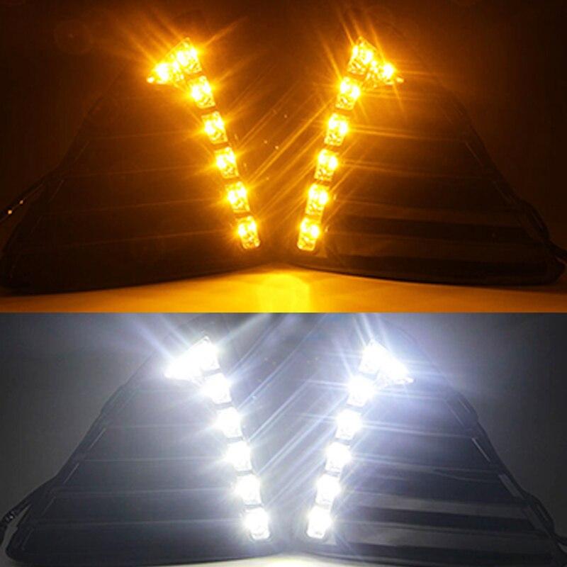 12 V LED voiture DRL pour Ford Focus 3 MK3 2012 2013 2014 2015 feux de jour feux de brouillard couvercle avec relais d'arrêt et de gradation