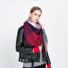 2018 Fashion Luxury Brand Women Scarf Stitching Plaid Cashmere Warp Knitting Thick Square Shawls and Wraps Blanket