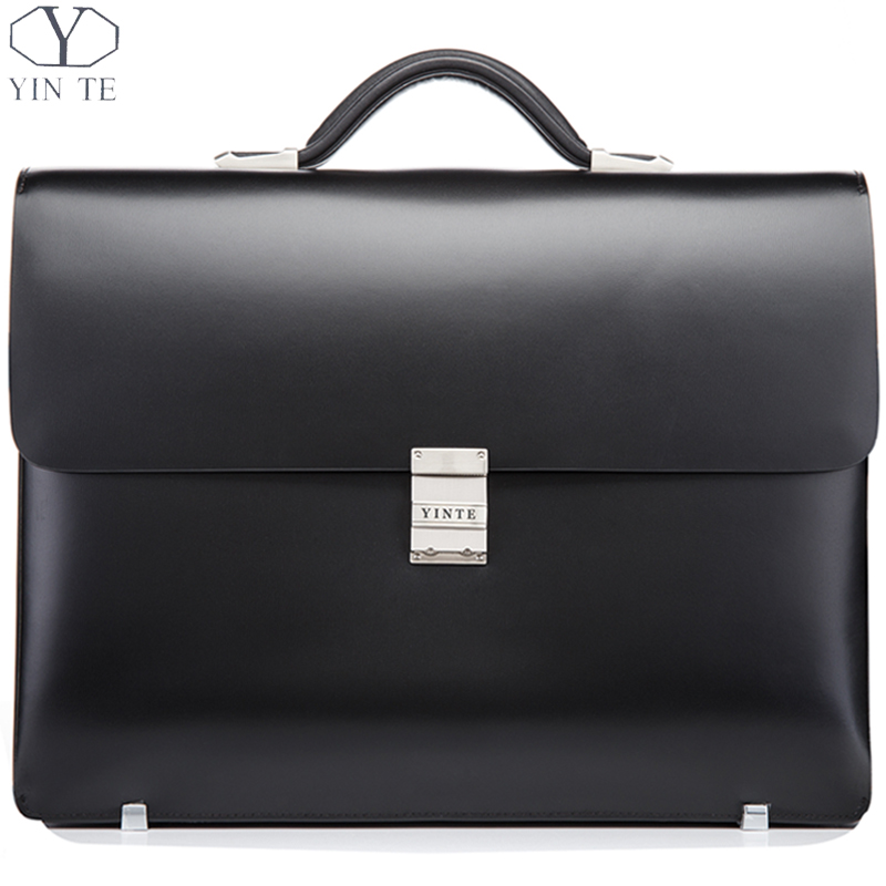Aliexpress.com : Buy YINTE Leather Black Briefcase Leather Men's ...