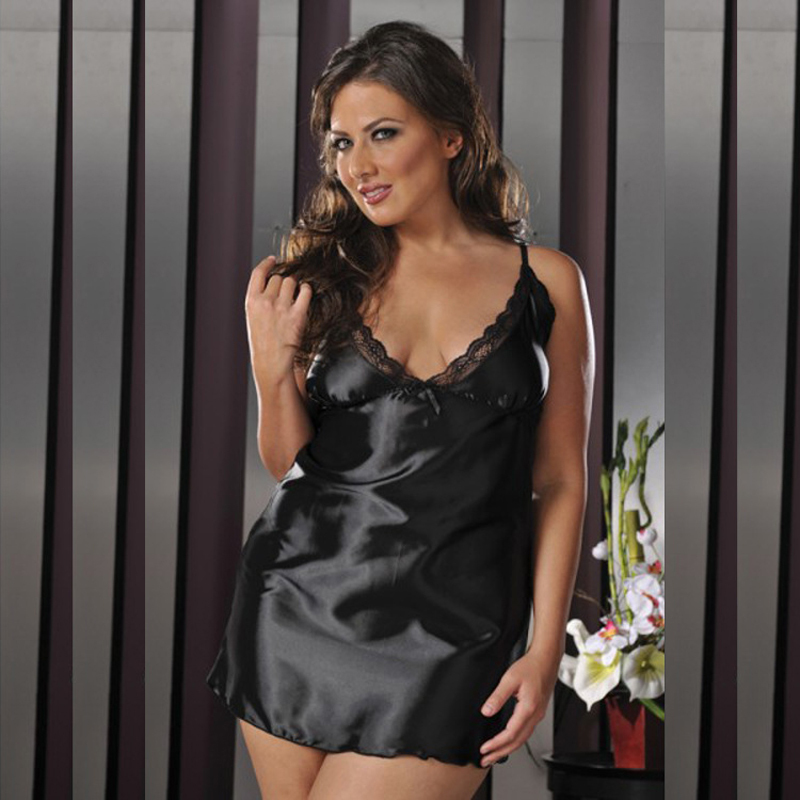store presenting factory authentic US $13.99 |Free Shipping New Sexy Plus Size Lingerie Pajamas Black White  Low V Neck Satin Sleepwear Lace Laciness Slip Nightwear Nightdress-in Full  ...