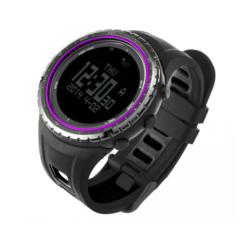 SUNROAD FR801B Digital Men Sport Watch-5ATM Waterproof Altimeter Compass Watches Fishing Barometer Clock  Sport Watch Men Purple