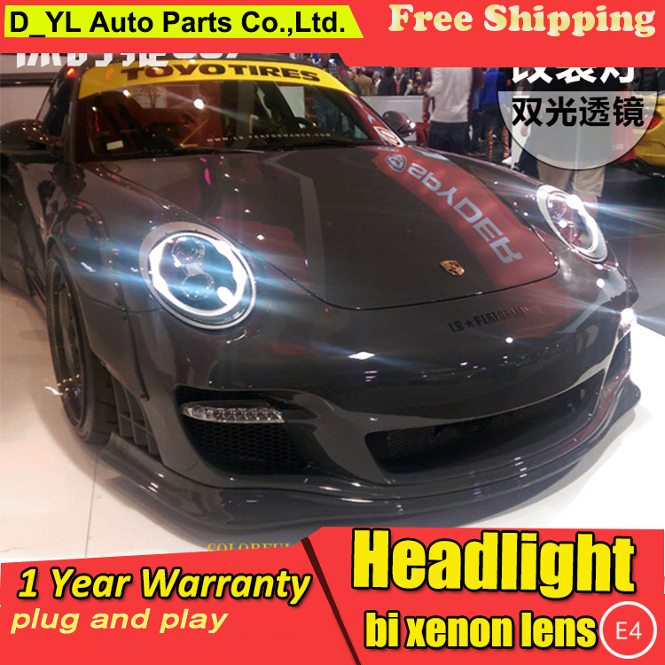 D YL Car Styling for Porsche 997 911 Headlights 2004 2008 997 911 LED Headlight DRL