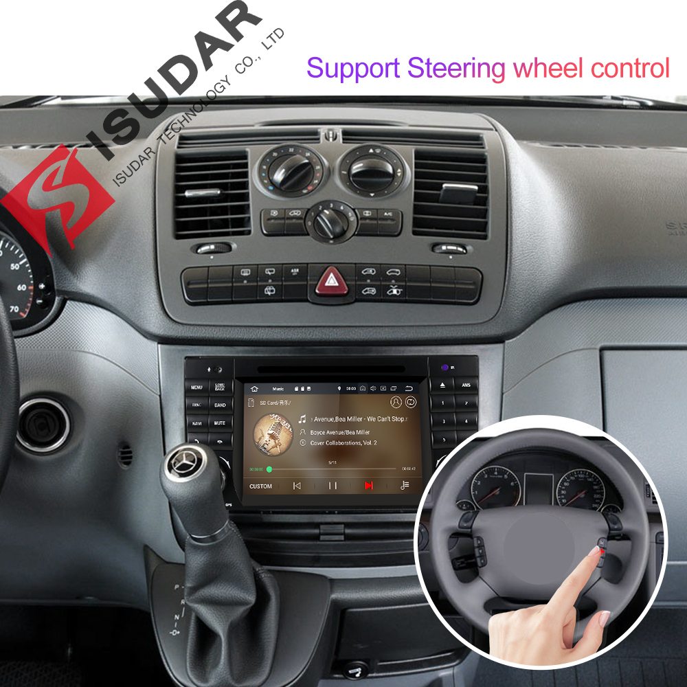 Isudar 2 Din Auto Radio Android 9 For Mercedes/Benz/W203/CLK200/CLK22/C180/C200 CANBUS Car Multimedia Video DVD Player GPS DVR