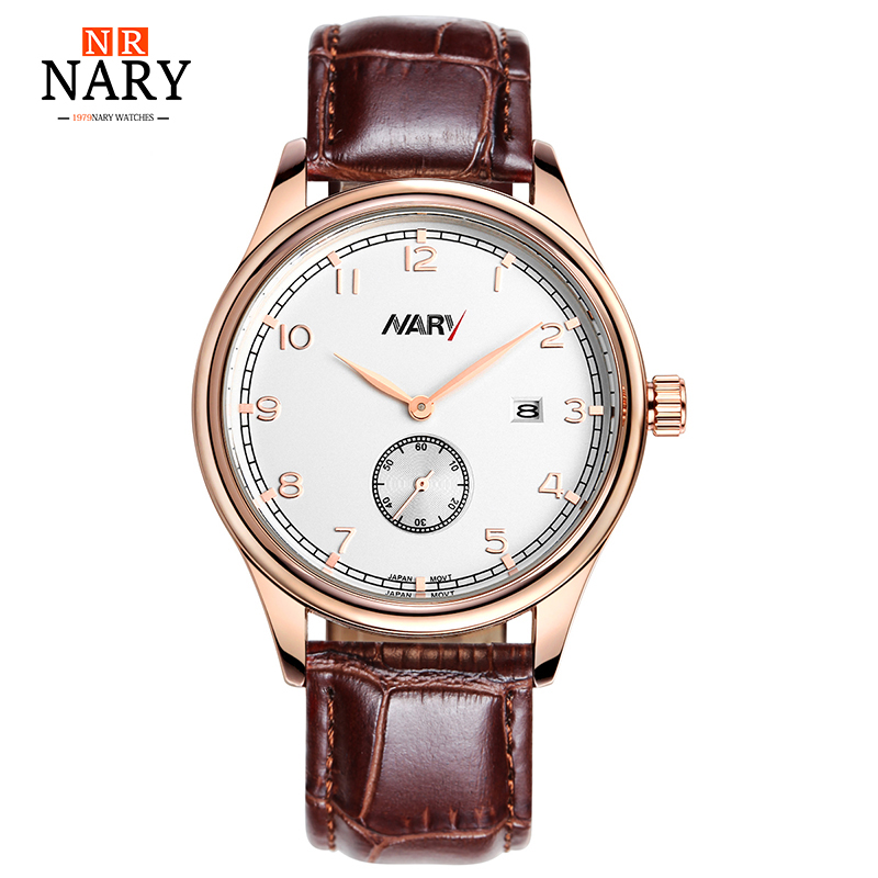 NARY Brand Luxury Men's Fashion Casual Sport Watches Men Waterproof Leather Quartz Watch Man military Clock Relogio Masculino hot brand fashion casual sport watches man quartz wristwatches binger waterproof watch men clock reloj relogio masculino