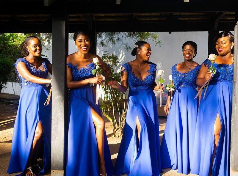 South African Summer Chiffon Lace Bridesmaids Dresses A Line Cap Sleeve Split Long Maid of Honor Gowns Plus Size Custom Made BM0615  79 (8)