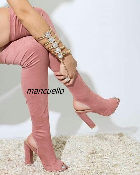 Stylish Slingback Block Heels Thigh High Sandal Booties Simply Plain Pink Open Toe Chunky Heel Lace Up Boots FashionSummerSandalStylish Slingback Block Heels Thigh High Sandal Booties Simply Plain Pink Open Toe Chunky Heel Lace Up Boots FashionSummerSandal