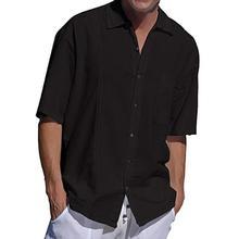 Men Shirts 2019 New Summer Fashion Mens Short Sleeve Baggy Cotton Linen Solid Shirt Button Beach Blouse