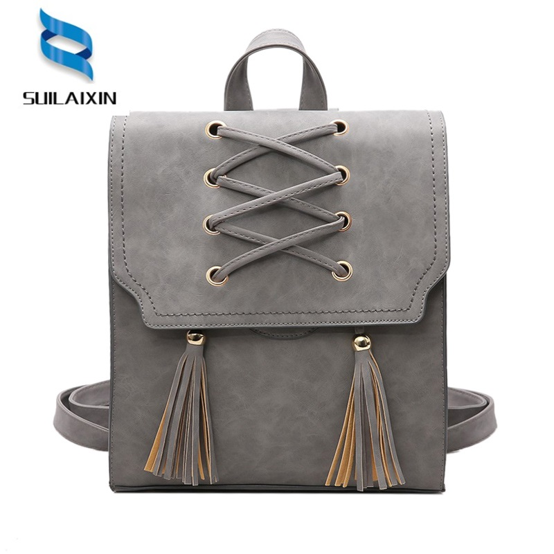 Women  Designer Faux Suede Backpack With Tassel Solid Vintage Weave School Bag for Teenager Girls Criss-Cross Shoulder Bags
