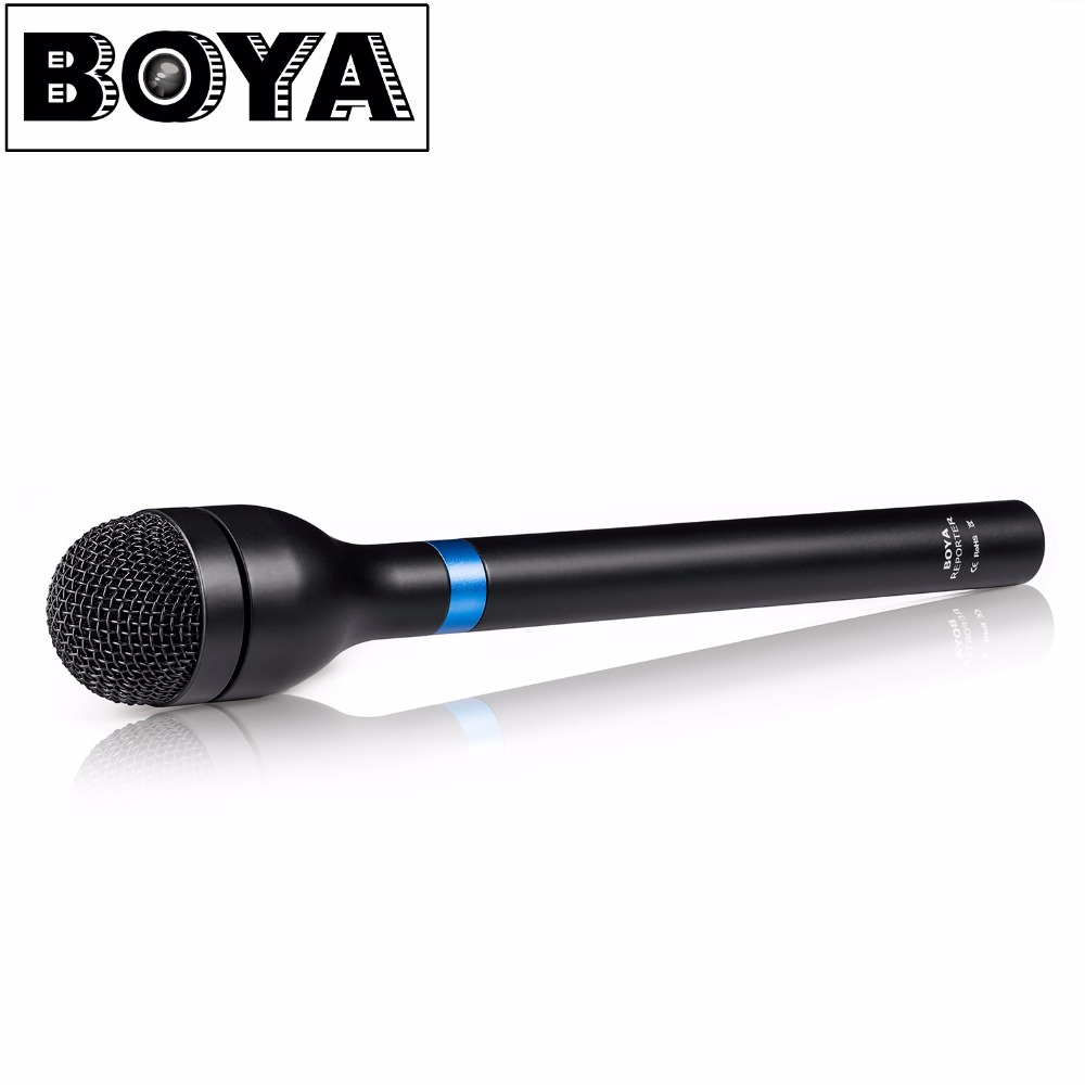 BOYA BY-HM100 Handheld Dynamic Microphone Mic Omni-Directional XLR Connector Aluminum Alloy Body Extra Long Handle boya by a01 3 5mm omni directional recording condenser microphone for iphone ipad silver