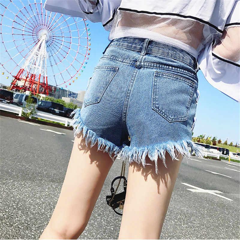 2019 夏野生女性ブルーデニムショートパンツファッション女性着用高ウエストショートプラスサイズ 5Xl 包帯ジーンズショーツ TTT065