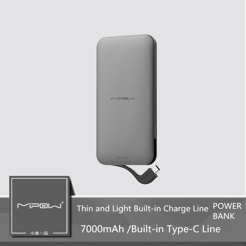 MIPOW 7000mAh power bank with built in Type C cable line 2A dDual fast charge externeral