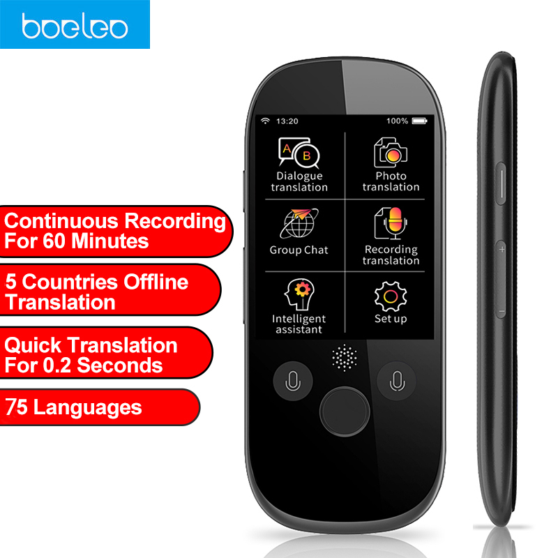 Boeleo K1 Pro Simultaneous Voice Translator 2.4 Inch WIFI 500MP Photo Translation Multi-language Portable Smart Voice Translator